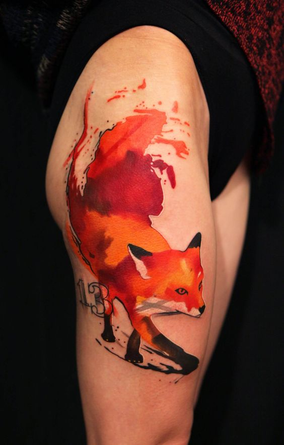 Watercolor Fierce Fox Thigh Tattoo