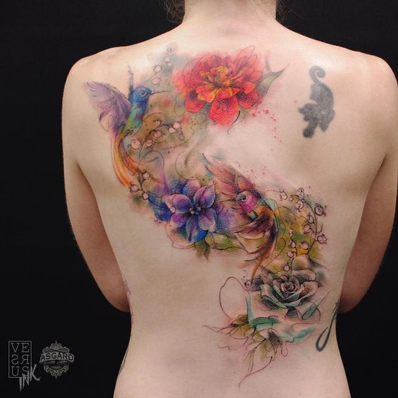 Watercolor Flowers And Birds Back Tattoo