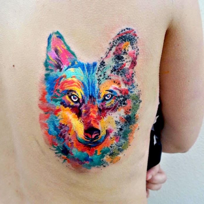 Watercolor Fox Back Tattoo
